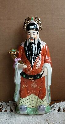 """Vintage Chinese Porcelain  Figurine...Shou (Shouxing). 12"""" Sanxing Diety."""