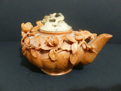 Antique Chinese Natural Soapstone ( Brown ) Special Design Flower Teapot 7891