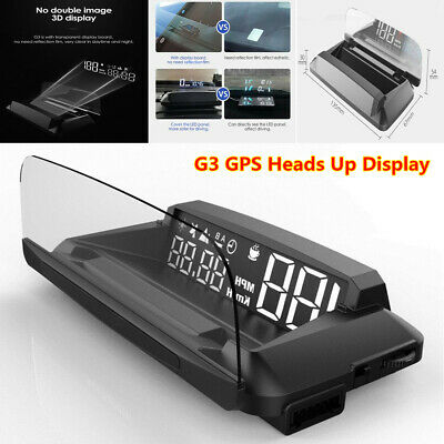 GPS Heads Up Display Universal Car HUD w/ Reflection Screen Multiple Interfaces