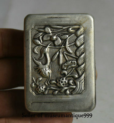 """2.4"""" Marked Old Chinese Miao Silver Dynasty Flower Bird ink cartridge Box"""