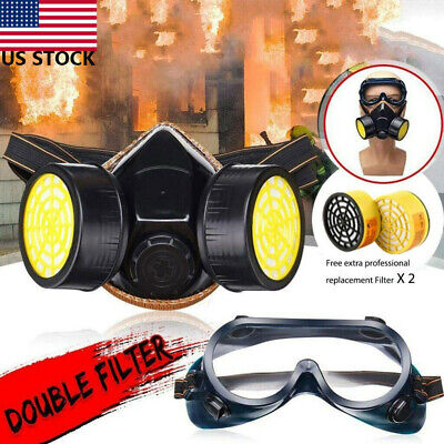 Full Face Dual Filters Respirator Gas Mask Reusable Air Spray Protective Goggles