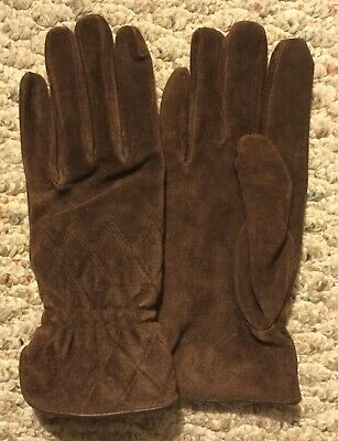 New! ISOTONER ARIS Suede Genuine Leather Womens Brown Sz M Lined Gloves Driving
