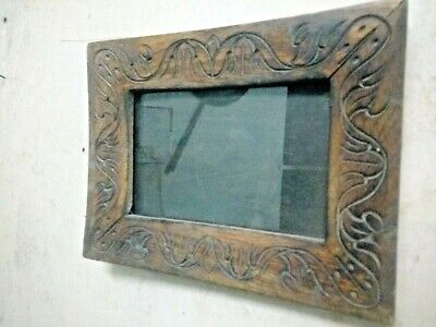 vintage wooden frame . hand carved .multi purpose use wall hanging with glass