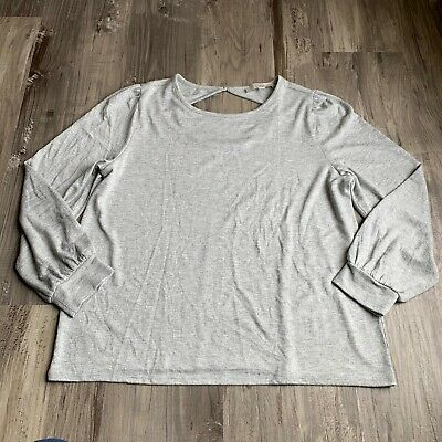 Ann Taylor Loft XL Top Cut Out Back Silver Frost Heather Gray Knit Womens NWT