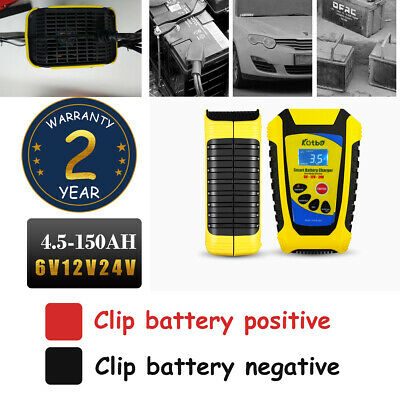 Car Battery Charger Heavy Duty 6V 12V & 24V Trickle / Fast, 150AH Vehicle LCD