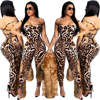 US Sexy Women Backless Leopard Print Sleeveless Lowcut Bodycon Club Jumpsuit