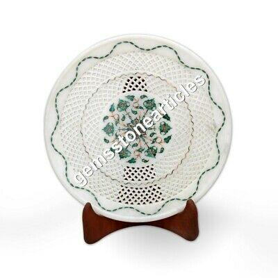"14"" Marble White Round Dining Plate Inlay Malachite Floral Art Hallway Decor"