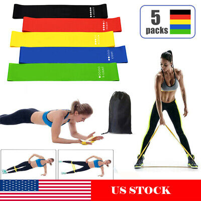 Resistance Bands Loop Yoga Workout Crossfit Fitness Yoga Booty Leg Exercise US