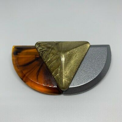 Large Art Deco Style Brooch Pin Faux Tortoise Shell Acrylic Gold  Statement Bold