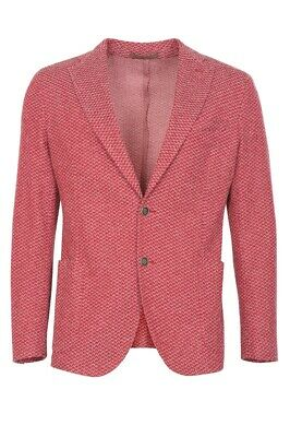 Eleventy Blazer Men's 54 SALE !! Red Slim Fit Houndstooth Cotton