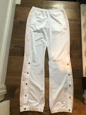 Adidas White Pink Stipe Tracksuit Bottoms Trousers Pop Buttons Street Wear 8-10