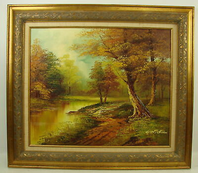 """Cantrell Original Oil Painting Canvas Signed Framed Autumn Landscape 28"""" x 31"""""""