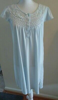 Miss Elaine Nightgown Cuddleknit Smocked Embroidered New Soft Powder Blue Size S