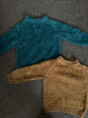 Zara Girls 2 Chenille Jumper Size 5 Years Green Yellow Mustard