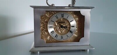 Swiza 8 Day Mechanical Quality Silvered Swiss Carriage Clock. Working Order.