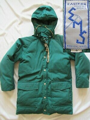 Vtg 70s Eastern Mountain Sports Down Puffy Jacket Parka Hood EMS Mountaineering