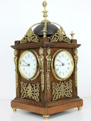 RARE ANTIQUE 4 DIAL LIBRARY MANTEL CLOCK by HENRY MARC ormolu caryatids & mounts