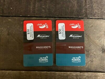 Chili's Macaroni Grill Gift Cards w $100 Value ACTIVATED Physical Card to Ship