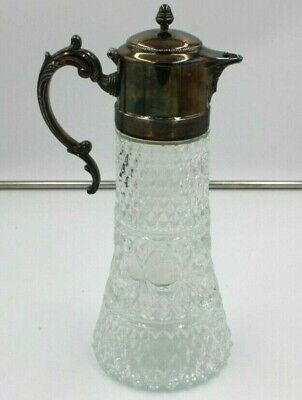 Vintage Crystal Carafe Pitcher Decanter Silverplate Top Ice Chiller Insert