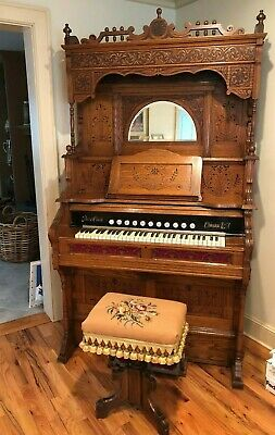 Story & Clark Antique 1897 Pump Organ (Reed) & Stool - Works - Mint -Ivory Stops