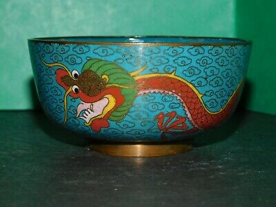 Small Chinese Turquoise Cloisonne Bowl With Red Dragon