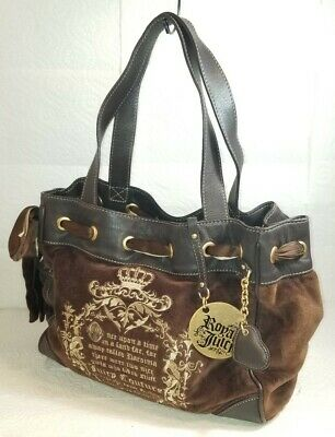 JUICY COUTURE Brown Velour And Leather Handbag Tote EMBROIDERED DESIGNS