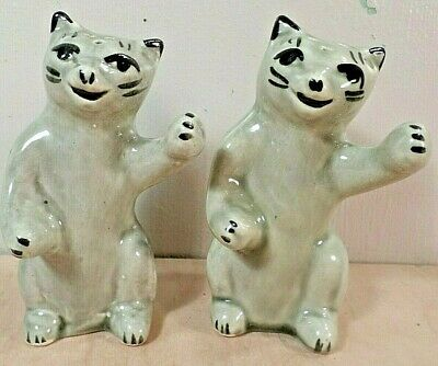 Vintage Cat~Kitten Salt and Pepper Shakers~Set~Gray~Ceramic