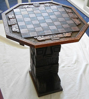 RARE & Unique Vintage Wood Carved Chessboard, Stand & Chessmen From PERU