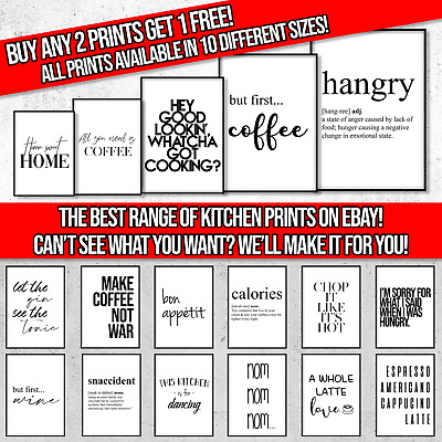 KITCHEN WALL ART PRINT CHOICES | Modern Minimalist Typography Quotes / Posters