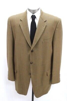 mens brown windowpane JOSEPH ABBOUD blazer jacket lambswool sport suit coat 48 L