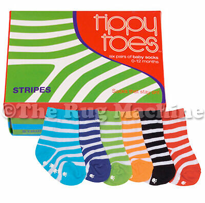 TIPPY TOES STRIPES INFANT KIDS CUTE SOCKS BOXED SET OF 6 - 0 to 12mths **NEW*
