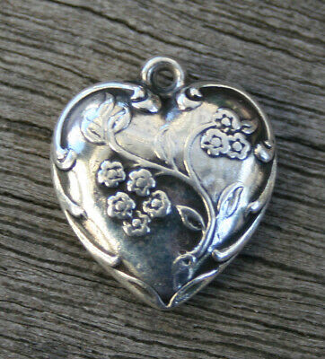 VINTAGE STERLING SILVER PUFFY HEART CHARM - Bunches of Flowers & Swirls Border