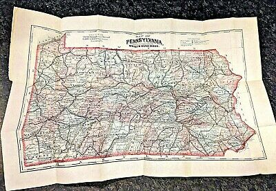 Late 1800s Full Color Pennsylvania Map
