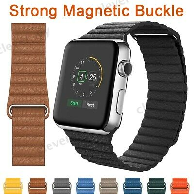 Magnetic Leather Loop Band Strap For Apple Watch Series 5 4 3 2 1 40/44/38/42mm