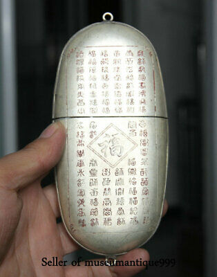 """6"""" Old China Silver Dynasty FU SHOU Words spectacles Eyeglass cases Glasses box"""