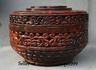 """8.2"""" Rare Old China Ox Bull Horn Dynasty Dragon hollow out Food Vessel Box Case"""