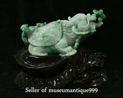 """10.8"""" Chinese emerald jadeite Green Jade Carved Feng Shui Dragon tortoise Statue"""