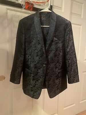 Tallia Boys Sport Coat Navy Blue Paisley 18R (Worn Only One Time)