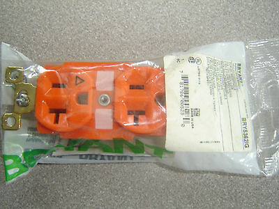 Bryant BRY5362IG, 5362IG, Orange DUPLEX RECEPTACLE 20A Isolated Ground