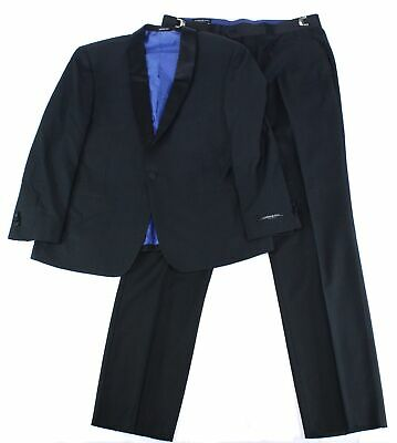 London Fog Mens Suits Black Size 40 Short Printed One-Button Tuxedo $299 574