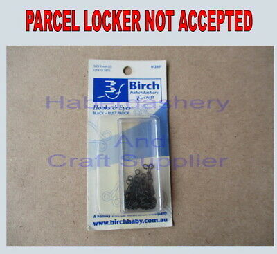 Birch Hooks And Eyes 12 Sets Per 1 Packet Rust Proof Black Metal 11Mm (2)