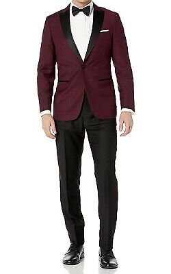 London Fog Mens Suits Red Black Size 54 Notched-Collar One Button $299 218