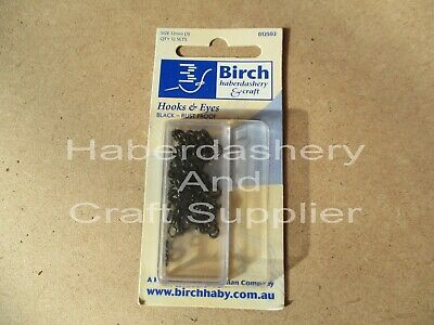 Birch Hooks And Eyes 12 Sets Per 1 Packet Rust Proof Black Metal 12Mm (3)