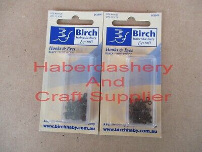 Birch Hooks And Eyes 24 Sets 2 Packets Rust Proof Black Metal 9Mm (1)
