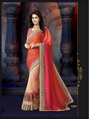 New Style Saree Two Tone Banarasi Silk Fabric Unstitched Blouse & Georgette 1567