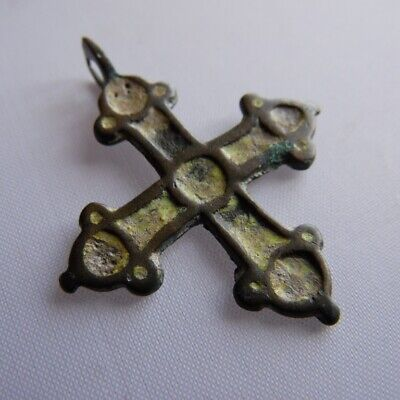 Ancient Viking Bronze Yellow Enamel Cross Pendant Kievan Rus' c 10-12 AD*