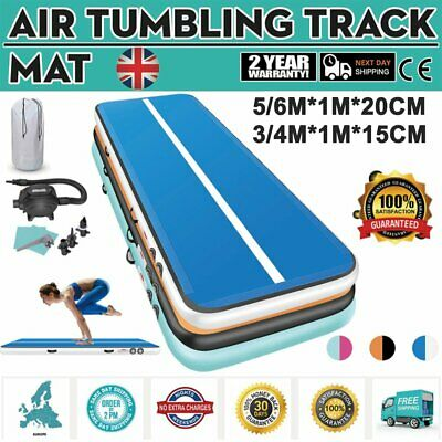 Inflatable Air Track Tumbling Gymnastic Mat Floor Home Exercise Training + Pump