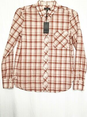 Rag And Bone Men Button Front Shirt Small Pink White Plaid Collared Western NWT