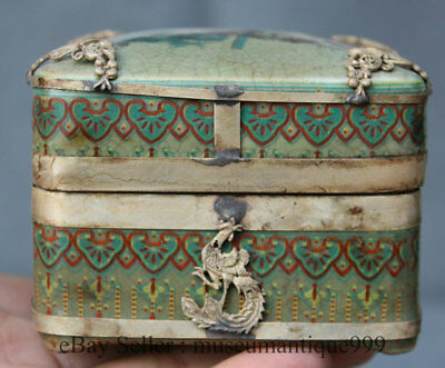 Old Chinese silver Inlaid Porcelain Handmade Butterfly Phoenix Jewelry Box