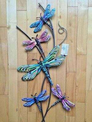 Dragonfly Metal Wall Hanging Decor Plaque Garden Fence 27 inches Dragonflies